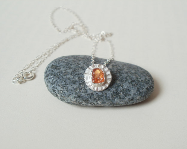 natural rough uncut orange sapphire daisy necklace in sterling silver and fine silver, handmade in England (limited edition)