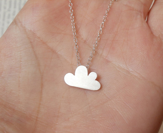 lucky happy cloud necklace in sterling silver, handmade in beautiful Cornwall, UK
