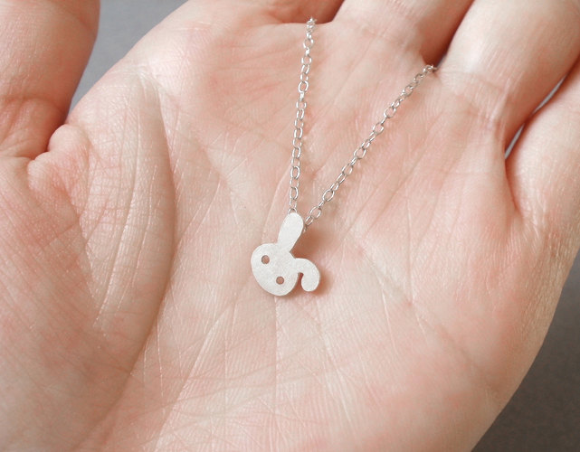 bunny rabbit necklace no. 2 in sterling silver, handmade in beautiful Cornwall, UK
