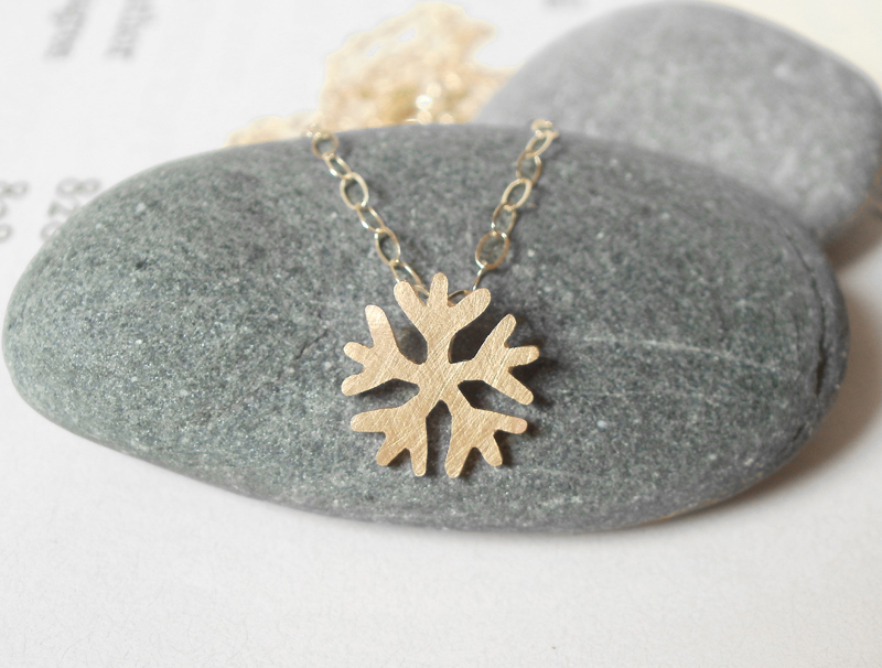 mini snowflake necklace in 9ct yellow gold, handmade in the UK
