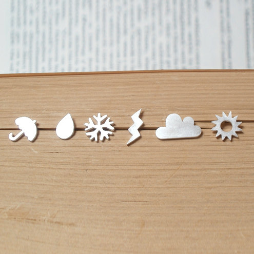 sterling silver weather forecast ear studs (set of 6 ear studs), handmade in England