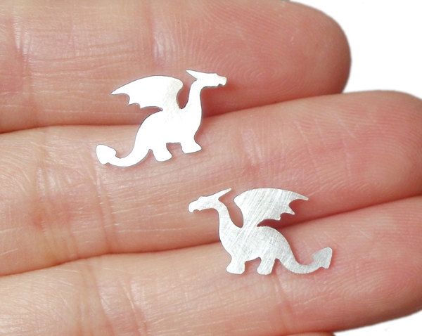 dragon earring studs in sterling silver, handmade in the UK