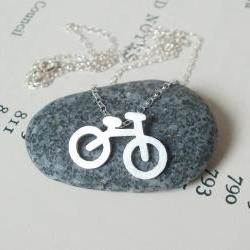 sterling silver holiday bicycle necklace, handmade in UK
